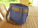 Quilted Shopping Basket Blue Lavender